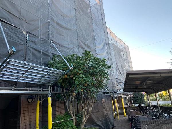 東京都国立市 外壁塗装 付帯部塗装 防水工事 近所の方々へご挨拶 足場設置 (3)