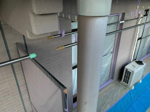 東京都国立市 外壁塗装 付帯部塗装 防水工事 下地処理 高圧洗浄~養生 (3)
