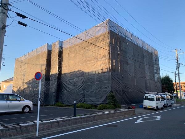 東京都国立市 外壁塗装 付帯部塗装 防水工事 近所の方々へご挨拶 足場設置 (2)