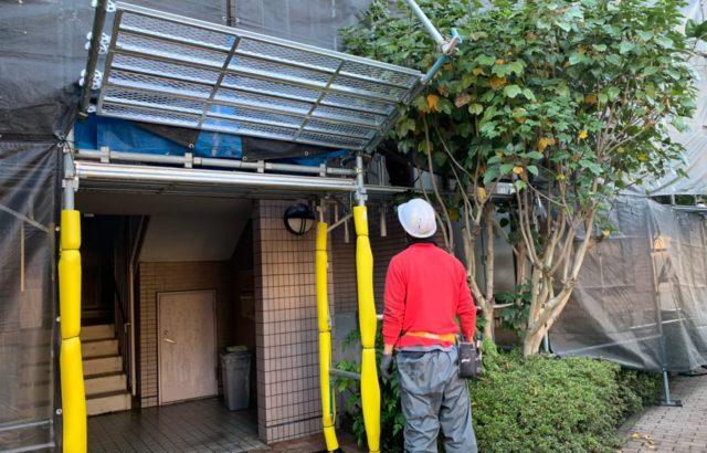 東京都立川市のマンションのバルコニー周りの外壁や手すりの塗装工事